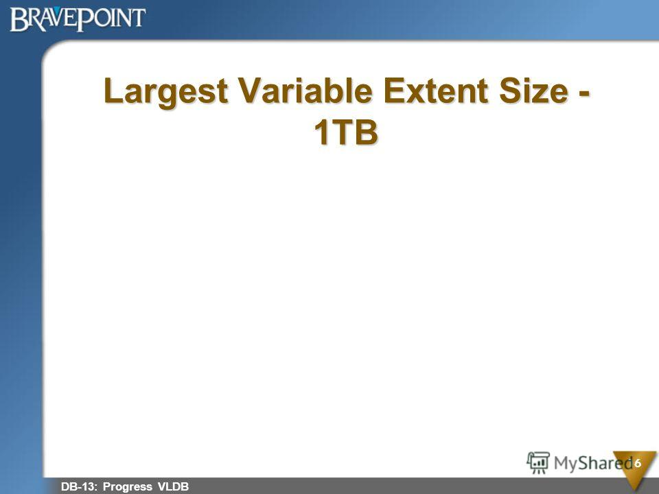 Largest Variable Extent Size - 1TB DB-13: Progress VLDB 16