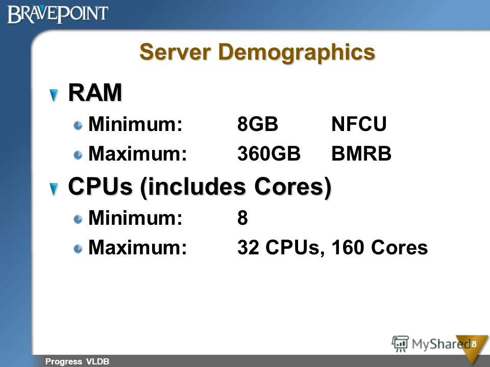 Progress VLDB 18 Server Demographics RAM Minimum:8GBNFCU Maximum:360GBBMRB CPUs (includes Cores) Minimum:8 Maximum:32 CPUs, 160 Cores