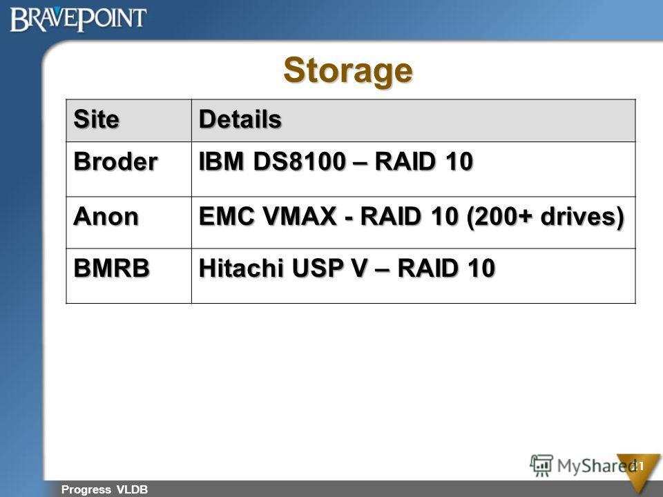 Progress vldb very large databases for Hitachi usp v architecture
