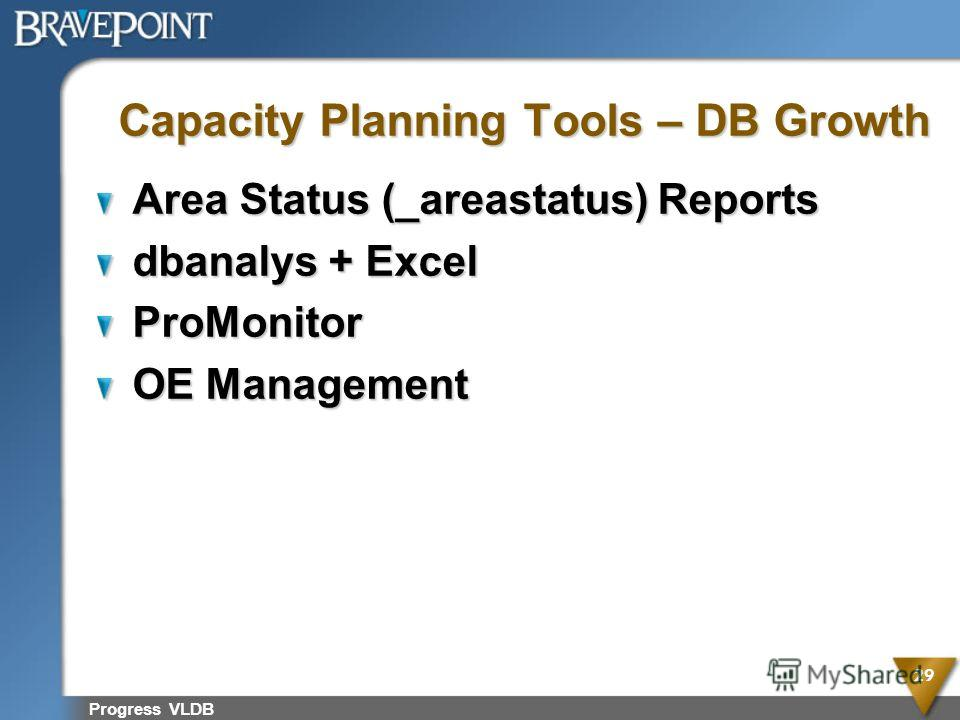 Progress VLDB 29 Capacity Planning Tools – DB Growth Area Status (_areastatus) Reports dbanalys + Excel ProMonitor OE Management