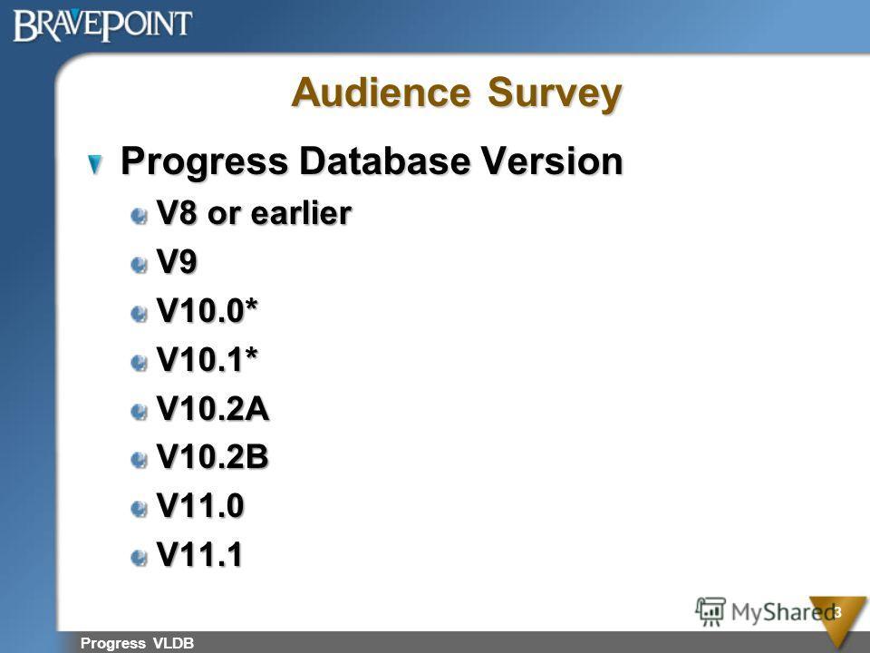 Progress VLDB 3 Audience Survey Progress Database Version V8 or earlier V9V10.0*V10.1*V10.2AV10.2BV11.0V11.1