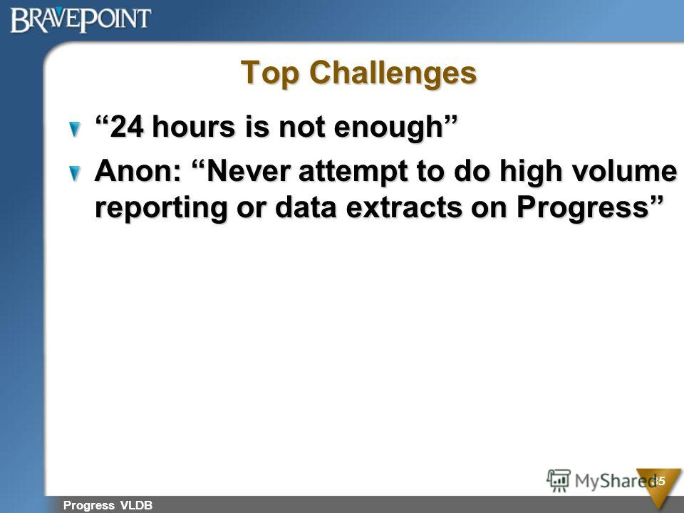 Progress VLDB 35 Top Challenges 24 hours is not enough Anon: Never attempt to do high volume reporting or data extracts on Progress