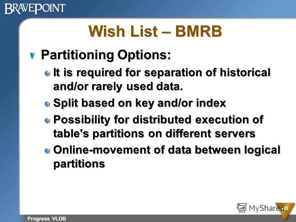 Wish List – BMRB Partitioning Options: It is required for separation of historical and/or rarely used data. Split based on key and/or index Possibility for distributed execution of table's partitions on different servers Online-movement of data betwe