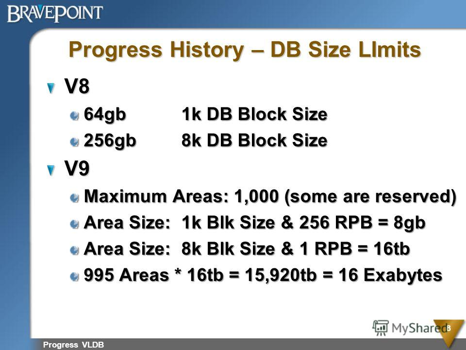 Progress VLDB 8 Progress History – DB Size LImits V8 64gb1k DB Block Size 256gb8k DB Block Size V9 Maximum Areas: 1,000 (some are reserved) Area Size:1k Blk Size & 256 RPB = 8gb Area Size:8k Blk Size & 1 RPB = 16tb 995 Areas * 16tb = 15,920tb = 16 Ex