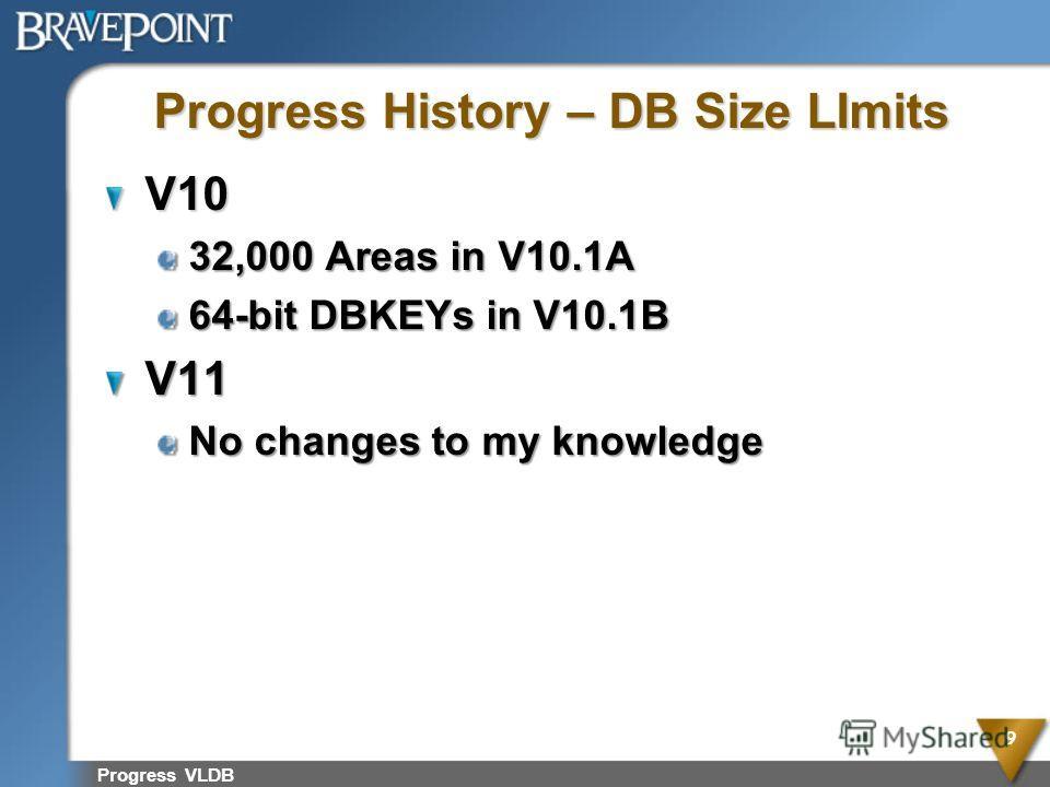 Progress VLDB 9 Progress History – DB Size LImits V10 32,000 Areas in V10.1A 64-bit DBKEYs in V10.1B V11 No changes to my knowledge