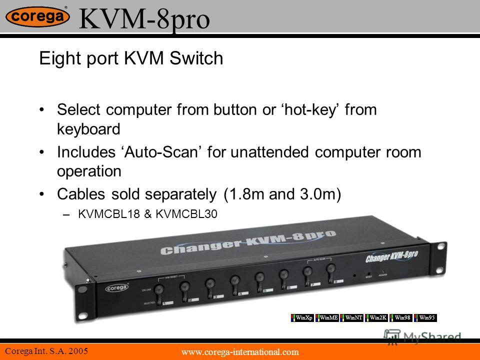 www.corega-international.com Corega Int. S.A. 2005 KVM-8pro Eight port KVM Switch Select computer from button or hot-key from keyboard Includes Auto-Scan for unattended computer room operation Cables sold separately (1.8m and 3.0m) –KVMCBL18 & KVMCBL