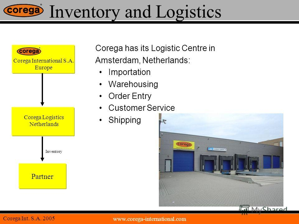 www.corega-international.com Corega Int. S.A. 2005 Inventory and Logistics Corega has its Logistic Centre in Amsterdam, Netherlands: Importation Warehousing Order Entry Customer Service Shipping Corega International S.A. Europe Corega Logistics Nethe