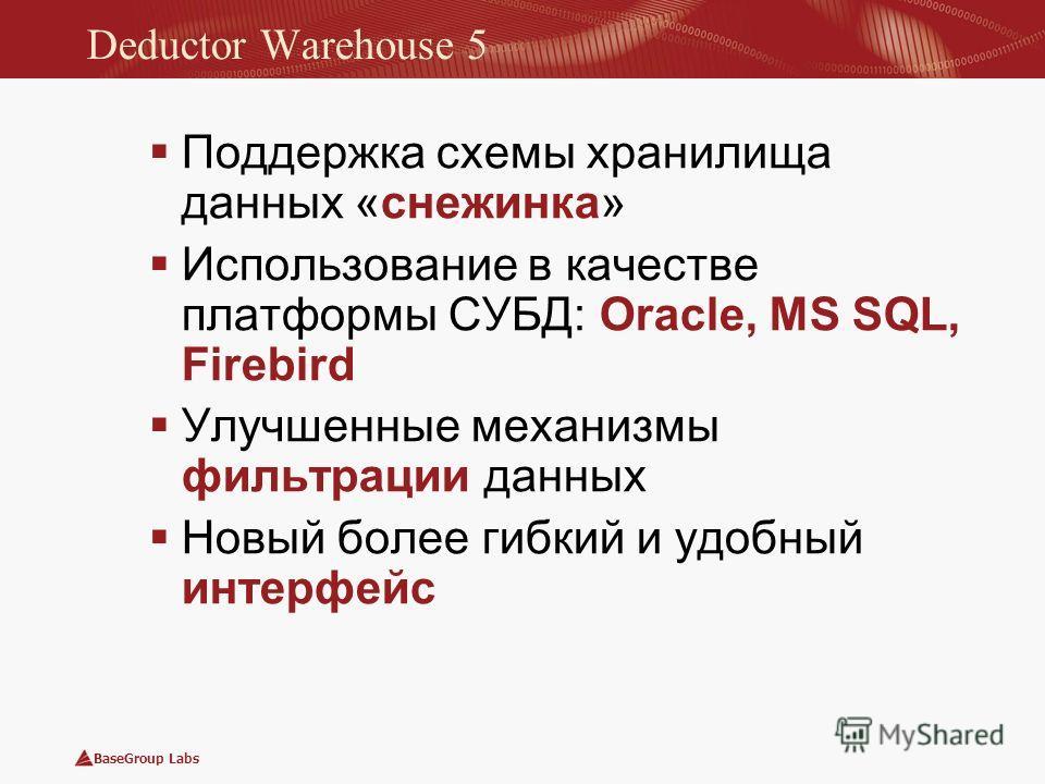 BaseGroup Labs Deductor Warehouse 5 Поддержка схемы хранилища данных «снежинка» Использование в качестве платформы СУБД: Oracle, MS SQL, Firebird Улучшенные механизмы фильтрации данных Новый более гибкий и удобный интерфейс