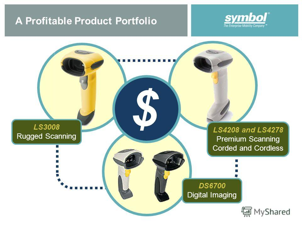 A Profitable Product Portfolio $ LS4208 and LS4278 Premium Scanning Corded and Cordless LS3008 Rugged Scanning DS6700 Digital Imaging