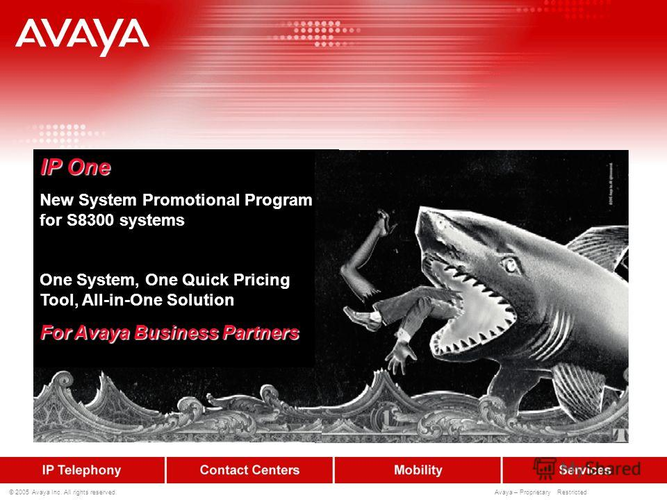 © 2005 Avaya Inc. All rights reserved. Avaya – Proprietary Restricted IP One New System Promotional Program for S8300 systems One System, One Quick Pricing Tool, All-in-One Solution For Avaya Business Partners