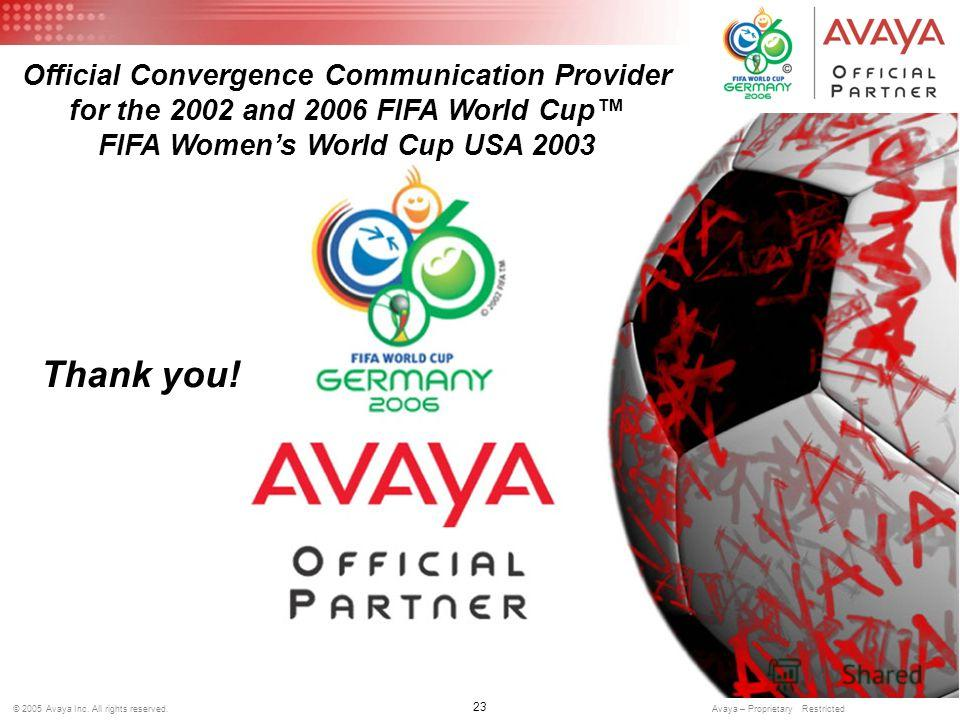 23 © 2005 Avaya Inc. All rights reserved. Avaya – Proprietary Restricted Official Convergence Communication Provider for the 2002 and 2006 FIFA World Cup FIFA Womens World Cup USA 2003 Thank you!