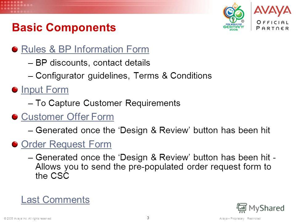 3 © 2005 Avaya Inc. All rights reserved. Avaya – Proprietary Restricted Basic Components Rules & BP Information Form –BP discounts, contact details –Configurator guidelines, Terms & Conditions Input Form –To Capture Customer Requirements Customer Off