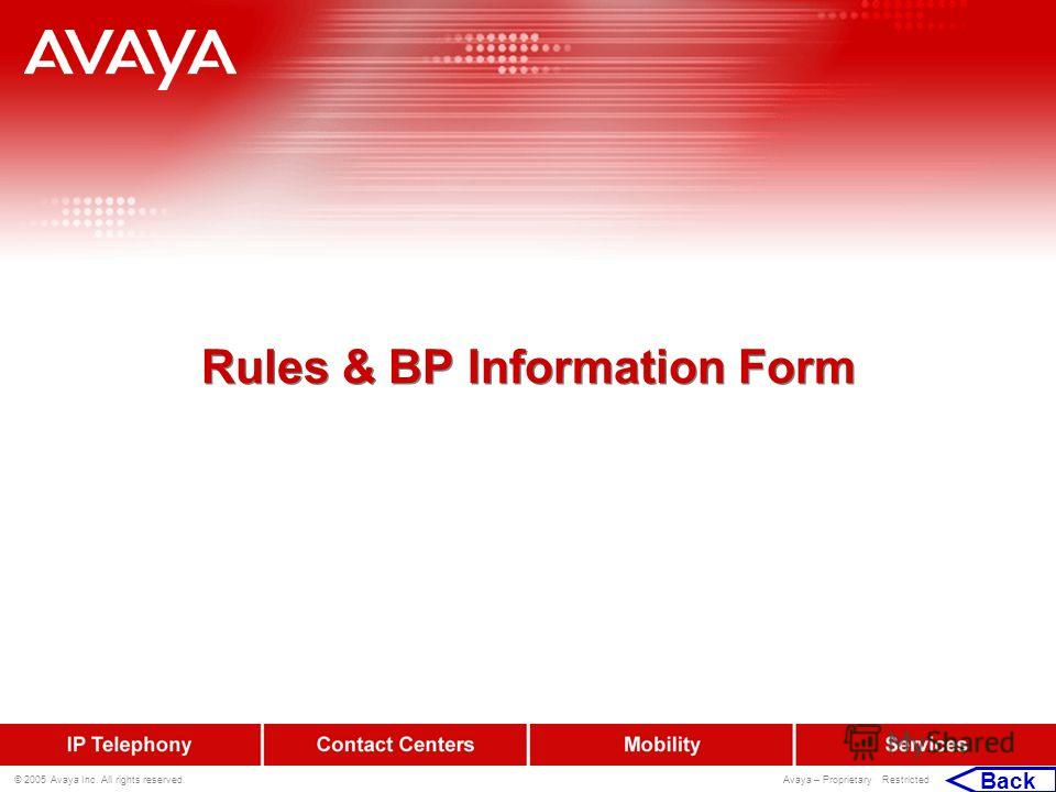 © 2005 Avaya Inc. All rights reserved. Avaya – Proprietary Restricted Rules & BP Information Form Back
