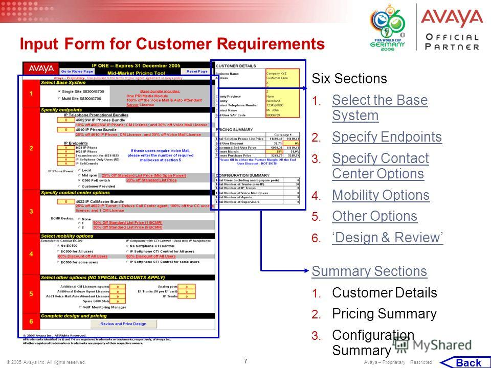 7 © 2005 Avaya Inc. All rights reserved. Avaya – Proprietary Restricted Input Form for Customer Requirements Six Sections 1. Select the Base System Select the Base System 2. Specify Endpoints Specify Endpoints 3. Specify Contact Center Options Specif