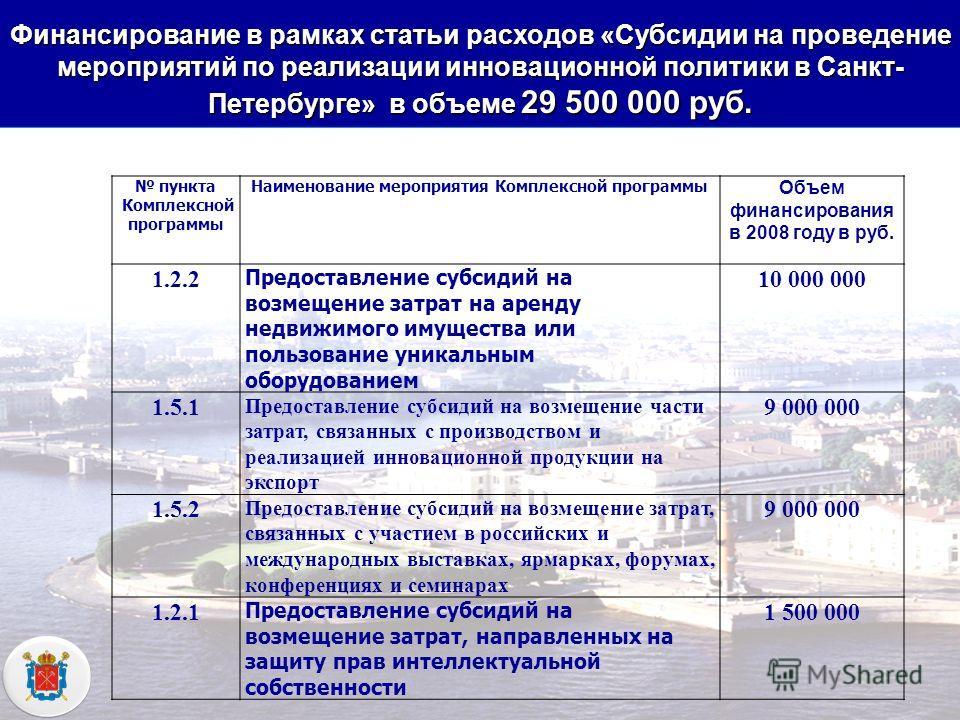 КОМИТЕТ ЭКОНОМИЧЕСКОГО РАЗВИТИЯ, ПРОМЫШЛЕННОЙ ПОЛИТИКИ И ТОРГОВЛИ Финансирование в рамках статьи расходов «Субсидии на проведение мероприятий по реализации инновационной политики в Санкт- Петербурге» в объеме 29 500 000 руб. пункта Комплексной програ