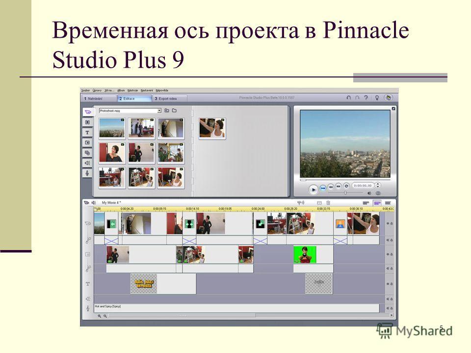 5 Временная ось проекта в Pinnacle Studio Plus 9