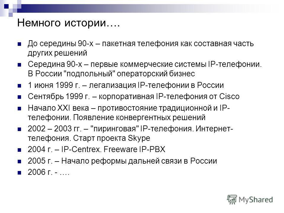 Немного истории…. До середины 90-х – пакетная телефония как составная часть других решений Середина 90-х – первые коммерческие системы IP-телефонии. В России
