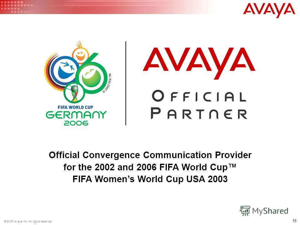 15 © 2005 Avaya Inc. All rights reserved. Official Convergence Communication Provider for the 2002 and 2006 FIFA World Cup FIFA Womens World Cup USA 2003