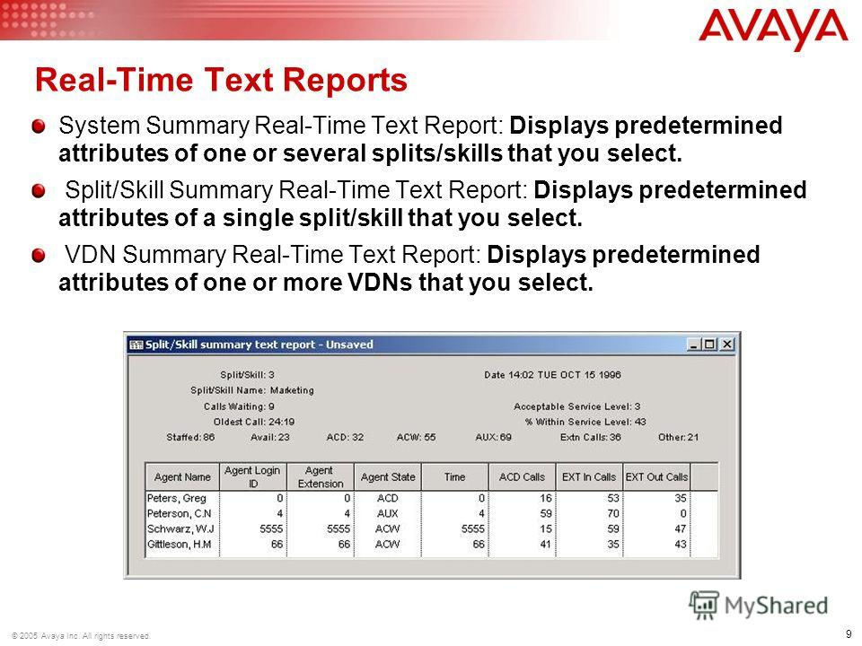 9 © 2005 Avaya Inc. All rights reserved. Real-Time Text Reports System Summary Real-Time Text Report: Displays predetermined attributes of one or several splits/skills that you select. Split/Skill Summary Real-Time Text Report: Displays predetermined