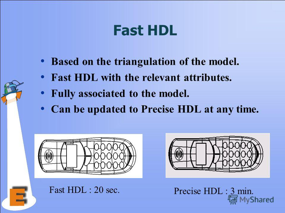 Fast HDL Based on the triangulation of the model. Fast HDL with the relevant attributes. Fully associated to the model. Can be updated to Precise HDL at any time. Precise HDL : 3 min. Fast HDL : 20 sec.