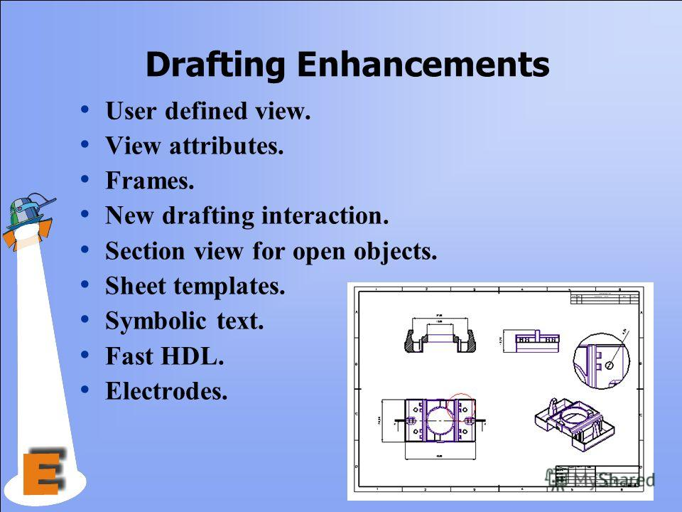 Drafting Enhancements User defined view. View attributes. Frames. New drafting interaction. Section view for open objects. Sheet templates. Symbolic text. Fast HDL. Electrodes.