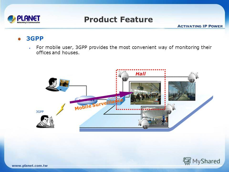 www.planet.com.tw 3GPP For mobile user, 3GPP provides the most convenient way of monitoring their offices and houses. Product Feature Mobile Surveillance Hall