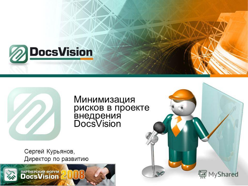 Минимизация рисков в проекте внедрения DocsVision Сергей Курьянов, Директор по развитию