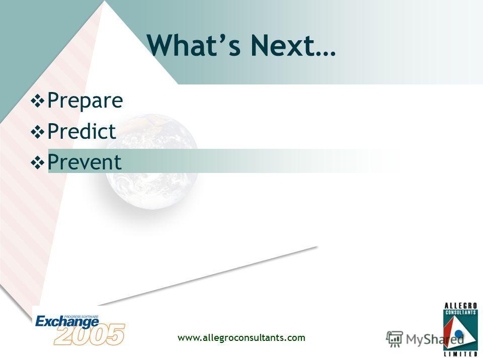 www.allegroconsultants.com Whats Next… Prepare Predict Prevent