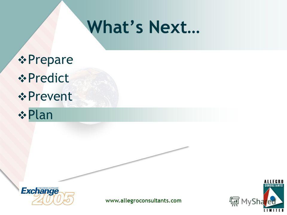 www.allegroconsultants.com Whats Next… Prepare Predict Prevent Plan