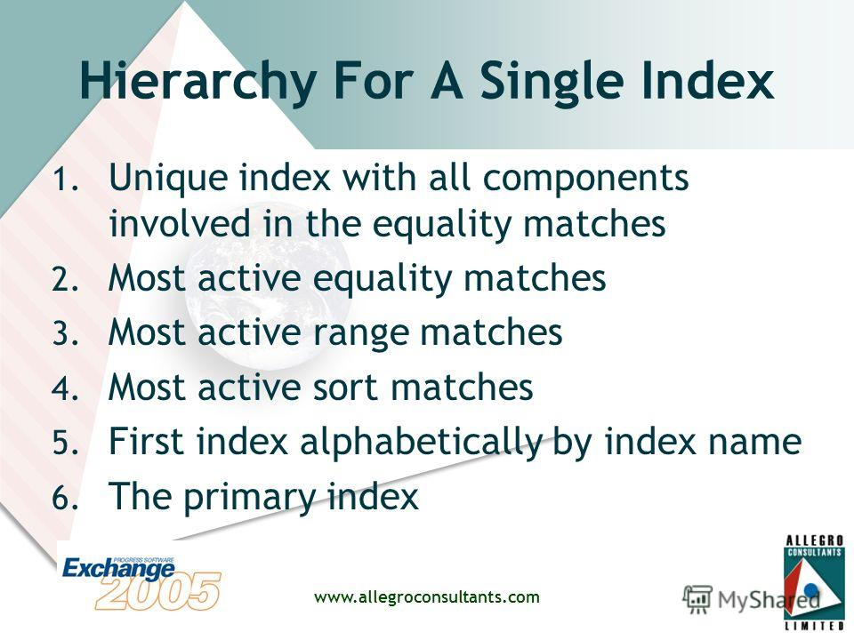 www.allegroconsultants.com Hierarchy For A Single Index 1. Unique index with all components involved in the equality matches 2. Most active equality matches 3. Most active range matches 4. Most active sort matches 5. First index alphabetically by ind