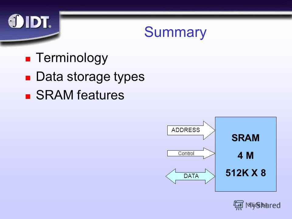 ® Slide 14 Summary n Terminology n Data storage types n SRAM features SRAM 4 M 512K X 8 ADDRESS DATA Control