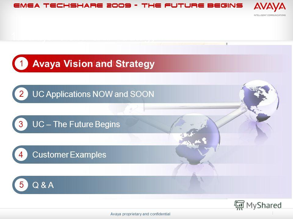 EMEA Techshare 2009 - The Future Begins Avaya proprietary and confidential 1. Avaya Vision and Strategy Avaya Vision and Strategy 1 1 UC Applications NOW and SOON 2 UC – The Future Begins 3 Customer Examples 4 Q & A 5
