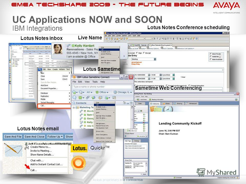 EMEA Techshare 2009 - The Future Begins Avaya proprietary and confidential Lotus Notes Conference scheduling UC Applications NOW and SOON IBM Integrations Lotus Notes inbox Lotus Notes email Live Name Quickr Sametime Web Conferencing Lotus Sametime