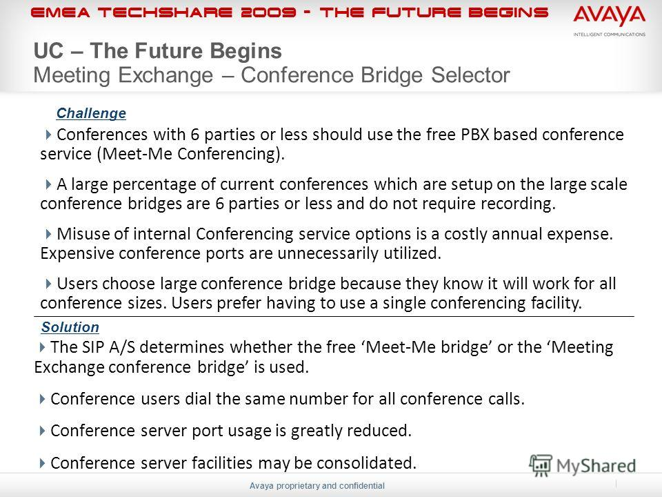 EMEA Techshare 2009 - The Future Begins Avaya proprietary and confidential UC – The Future Begins Meeting Exchange – Conference Bridge Selector Conferences with 6 parties or less should use the free PBX based conference service (Meet-Me Conferencing)