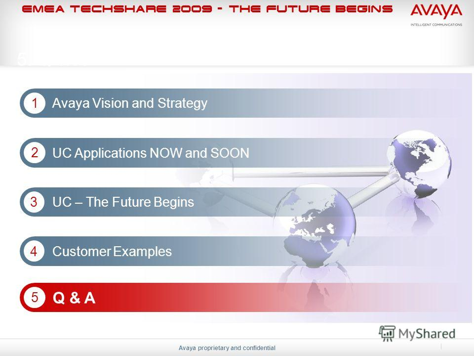 EMEA Techshare 2009 - The Future Begins Avaya proprietary and confidential 5. Q & A Avaya Vision and Strategy 1 Q & A 5 UC Applications NOW and SOON 2 UC – The Future Begins 3 Customer Examples 4
