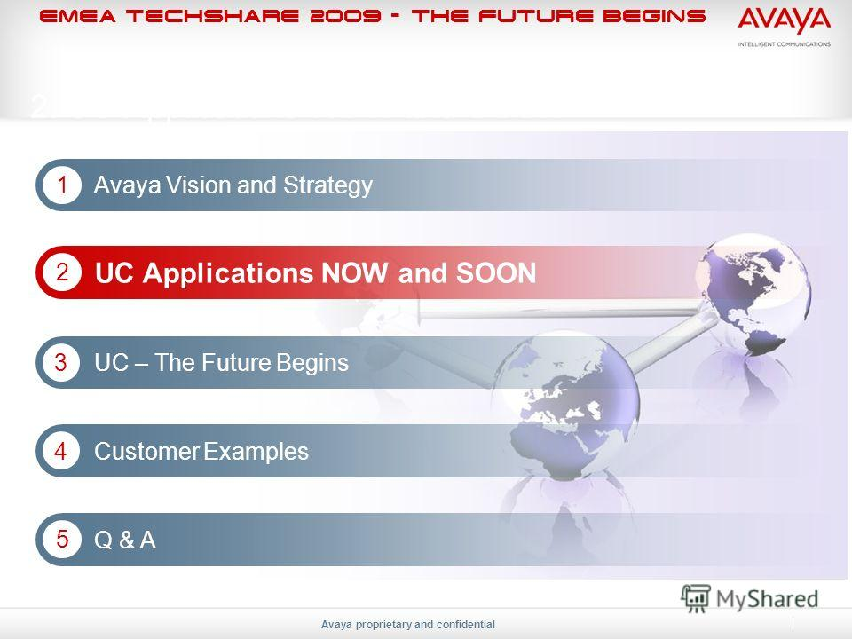 EMEA Techshare 2009 - The Future Begins Avaya proprietary and confidential 2. UC Applications NOW and SOON Avaya Vision and Strategy 1 UC Applications NOW and SOON 2 UC – The Future Begins 3 Customer Examples 4 Q & A 5