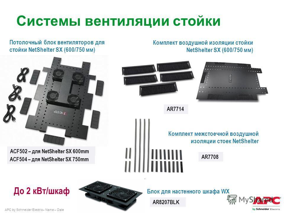 APC by Schneider Electric– Name – Date Системы вентиляции стойки До 2 к Вт/шкаф AR8207BLK Блок для настенного шкафа WX Потолочный блок вентиляторов для стойки NetShelter SX (600/750 мм) ACF502 – для NetShelter SX 600mm ACF504 – для NetShelter SX 750m