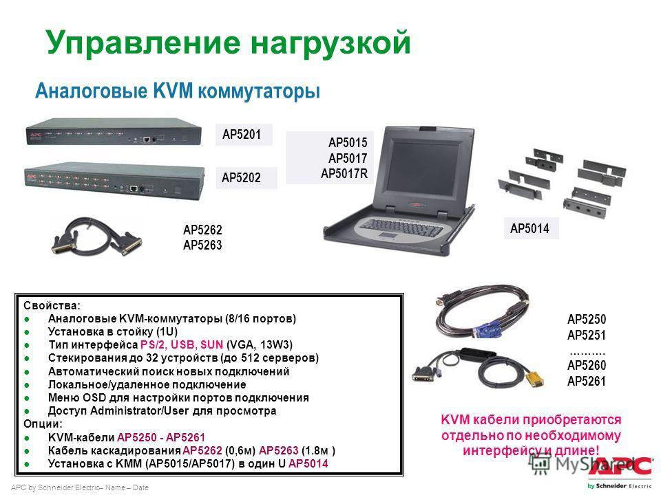 APC by Schneider Electric– Name – Date Аналоговые KVM коммутаторы AP5202 AP5201 AP5262 AP5263 AP5250 AP5251 ………. AP5260 AP5261 KVM кабели приобретаются отдельно по необходимому интерфейсу и длине! Свойства: Аналоговые KVM-коммутаторы (8/16 портов) Ус
