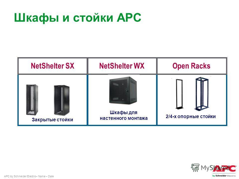 APC by Schneider Electric– Name – Date Шкафы и стойки АРС Open RacksNetShelter SX Закрытые стойки NetShelter WX Шкафы для настенного монтажа 2/4-х опорные стойки