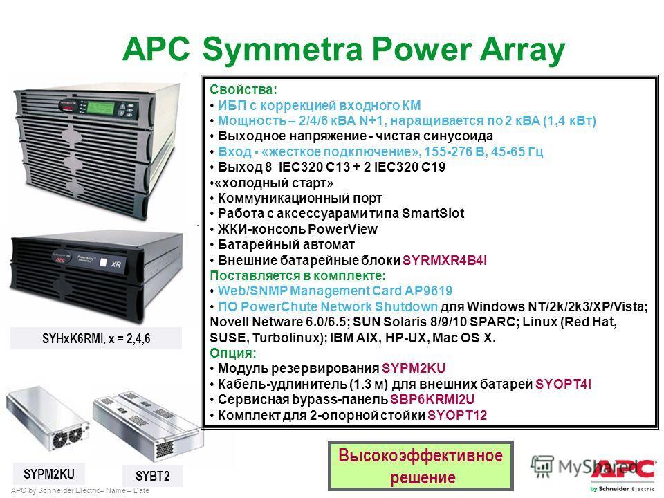 APC by Schneider Electric– Name – Date Высокоэффективное решение SYHxK6RMI, x = 2,4,6 SYBT2 SYPM2KU Свойства: ИБП с коррекцией входного КМ Мощность – 2/4/6 кВА N+1, наращивается по 2 кВА (1,4 к Вт) Выходное напряжение - чистая синусоида Вход - «жестк