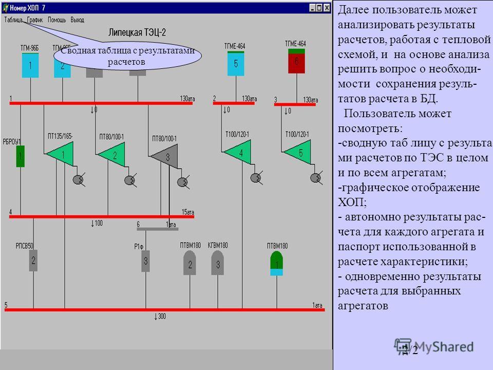 Выполнен расчет. На экране показана сформированная при подготовке задания на расчет тепловая схема. Изменился цвет агрегатов. Котлы и ПВК закрашены цветом, соответствующим виду сжигаемого топлива (например, газ-голубой, мазут - коричневый ). Относите