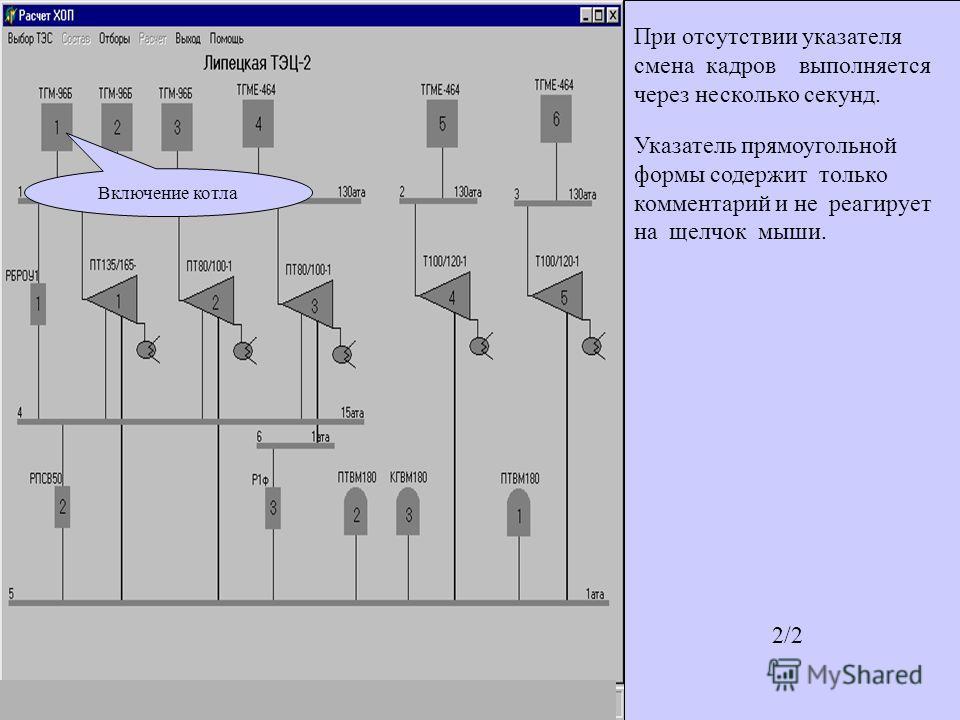 Включение котла В начале работы программы на экране представлена тепловая схема, записанная в базе данных первой. Для выбора другой тепловой схемы необходимо воспользоваться пунктом меню Выбор ТЭС. После выбора ТЭС пользователь начинает подготовку за