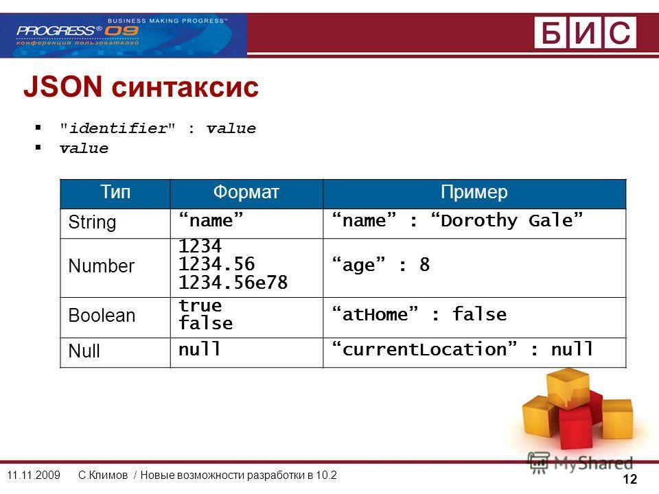 12 11.11.2009С.Климов / Новые возможности разработки в 10.2 JSON синтаксис