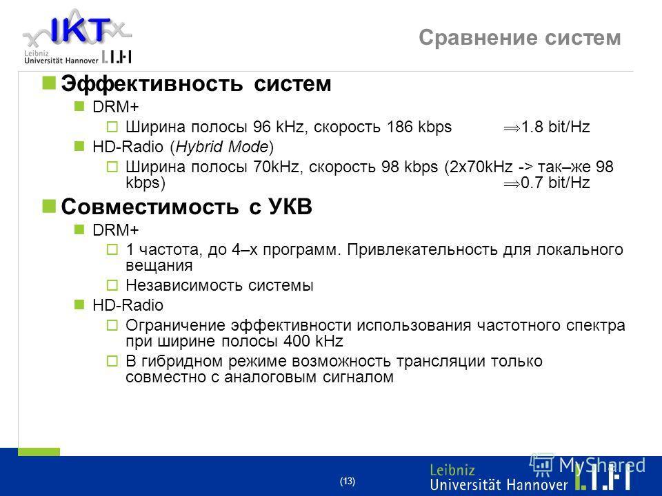 (13) Сравнение систем Эффективность систем DRM+ Ширина полосы 96 kHz, скорость 186 kbps 1.8 bit/Hz HD-Radio (Hybrid Mode) Ширина полосы 70kHz, скорость 98 kbps (2x70kHz -> так–же 98 kbps) 0.7 bit/Hz Совместимость с УКВ DRM+ 1 частота, до 4–х программ