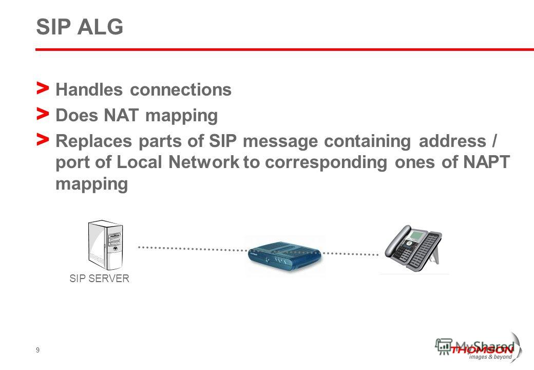 9 SIP ALG > Handles connections > Does NAT mapping > Replaces parts of SIP message containing address / port of Local Network to corresponding ones of NAPT mapping SIP SERVER