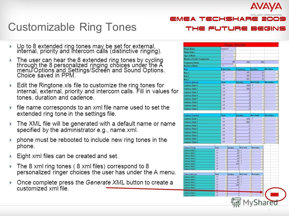 EMEA Techshare 2009 The Future Begins Customizable Ring Tones Up to 8 extended ring tones may be set for external, internal, priority and intercom calls (distinctive ringing). The user can hear the 8 extended ring tones by cycling through the 8 perso