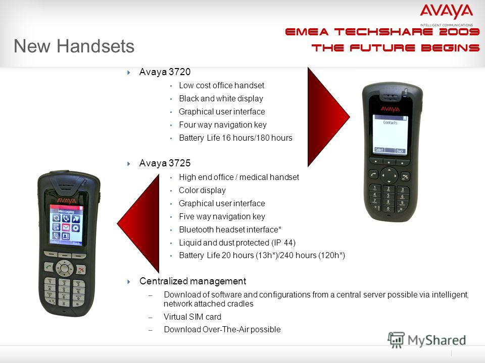 EMEA Techshare 2009 The Future Begins New Handsets Avaya 3720 Low cost office handset Black and white display Graphical user interface Four way navigation key Battery Life 16 hours/180 hours Avaya 3725 High end office / medical handset Color display