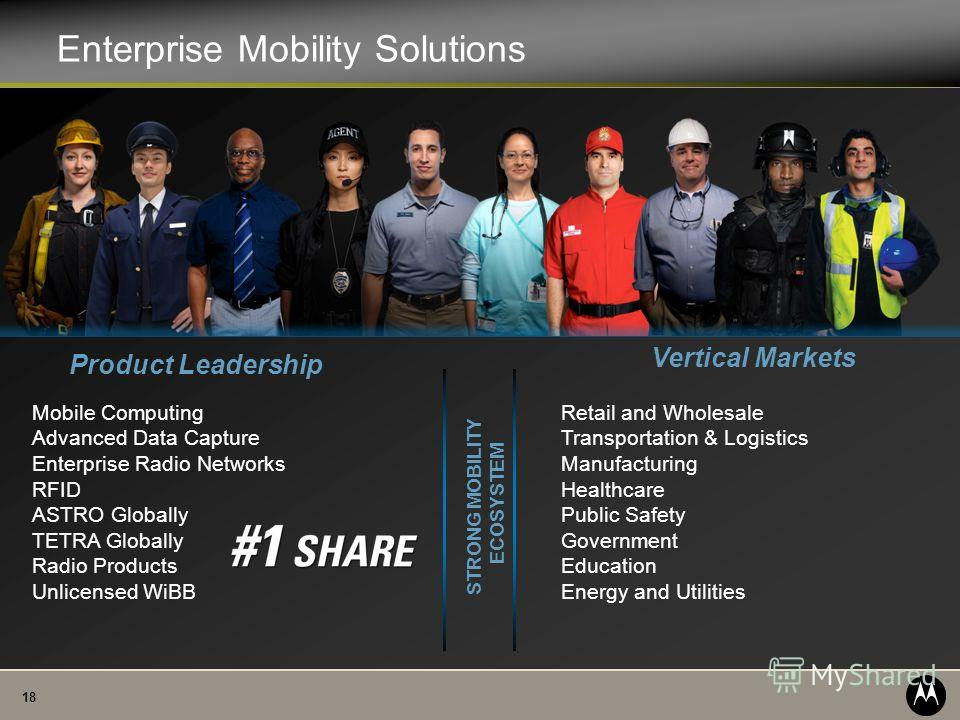 18 Enterprise Mobility Solutions Retail and Wholesale Transportation & Logistics Manufacturing Healthcare Public Safety Government Education Energy and Utilities Product Leadership Vertical Markets STRONG MOBILITY ECOSYSTEM Mobile Computing Advanced