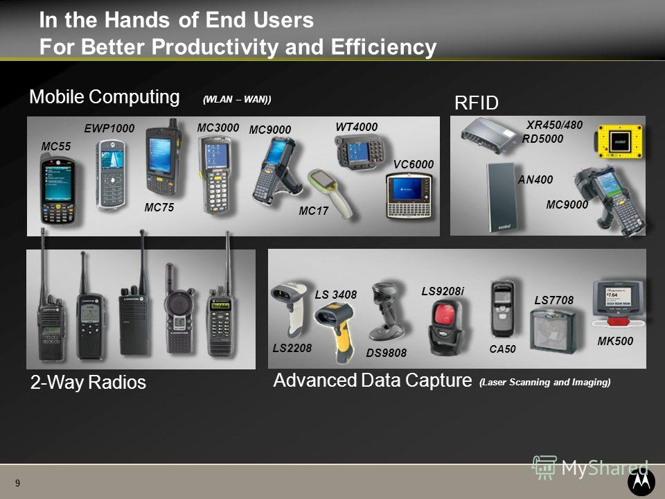 9 In the Hands of End Users For Better Productivity and Efficiency RD5000 2-Way Radios LS 3408 Advanced Data Capture DS9808 MK500 CA50 LS9208i LS2208 LS7708 (Laser Scanning and Imaging) Mobile Computing VC6000 MC55 MC3000 MC75 MC9000 WT4000 MC17 (WLA