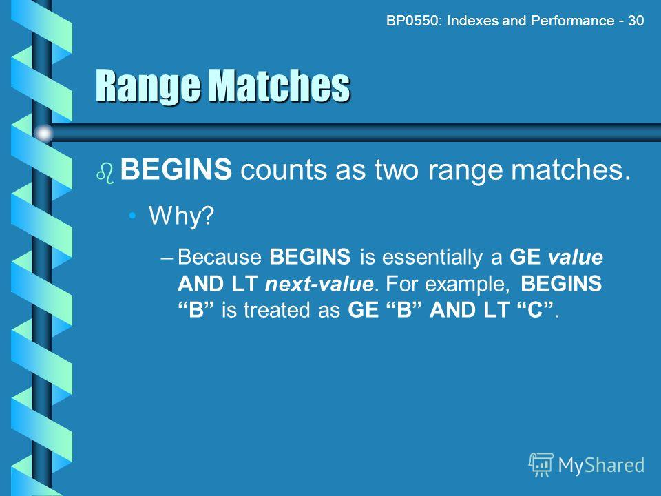 BP0550: Indexes and Performance - 30 Range Matches BEGINS counts as two range matches. Why? – –Because BEGINS is essentially a GE value AND LT next-value. For example, BEGINS B is treated as GE B AND LT C.